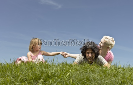 a family sitting on the grass