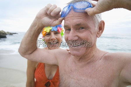 mature woman in swimming costume and