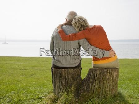 rear view of a senior couple