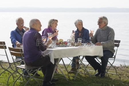five senior friends having lunch beside