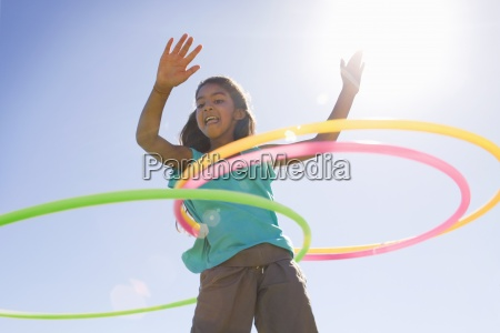 low angle view of girl spinning