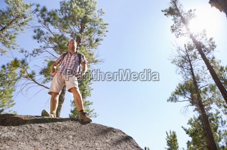 low angle view of hiker standing