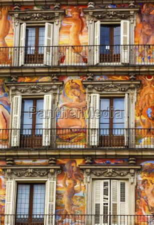 plaza mayor walls cityscape madrid spain