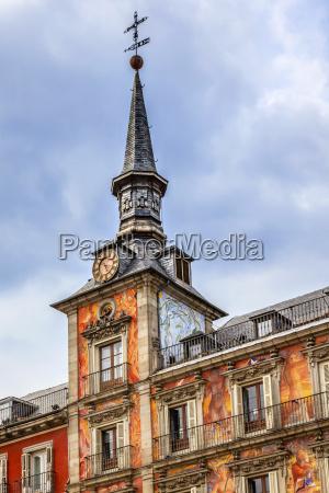 plaza mayorsteeple cityscape madrid spain