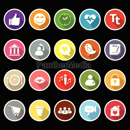 chat conversation flat icons with long