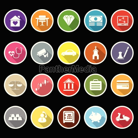 insurance related flat icons with long