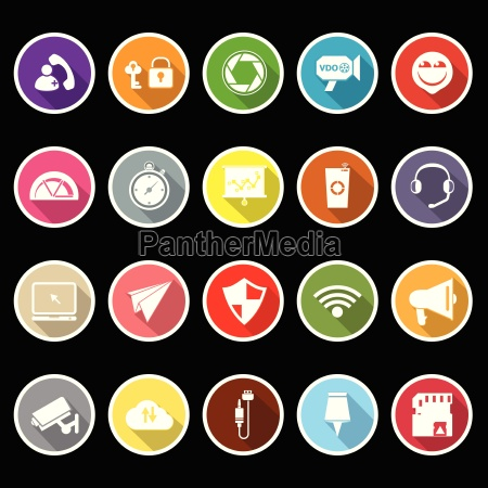 smart phone screen flat icons with