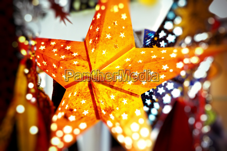 christmas stars on the christmas market