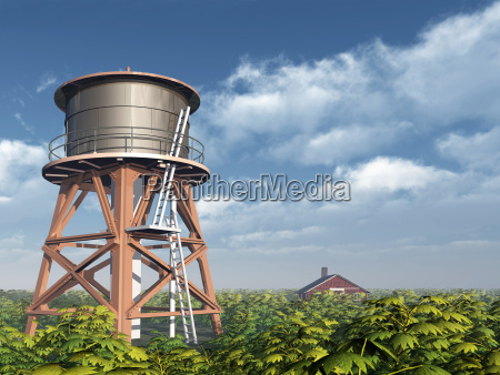 water tower and farm