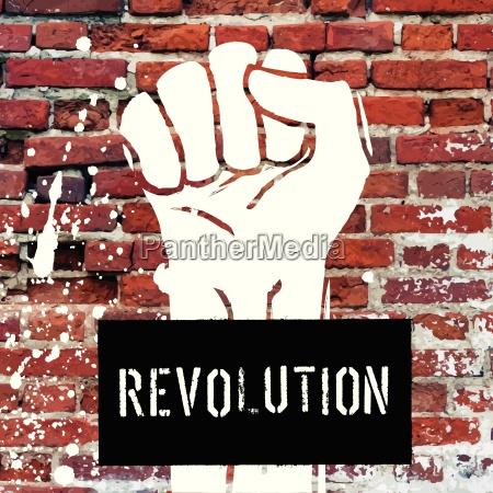 grunge fist illustration on brick texture