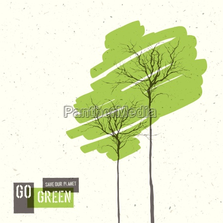 go green concept poster with trees