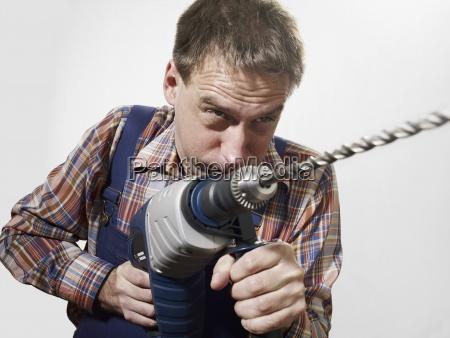 horizontal drill facial expression holding looking
