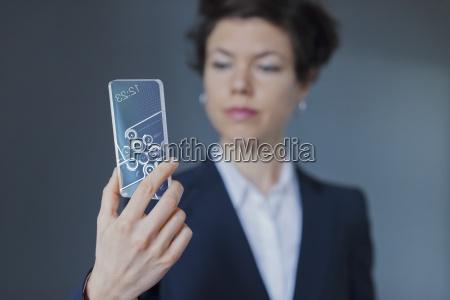 smart phone transparent formalwear standing people
