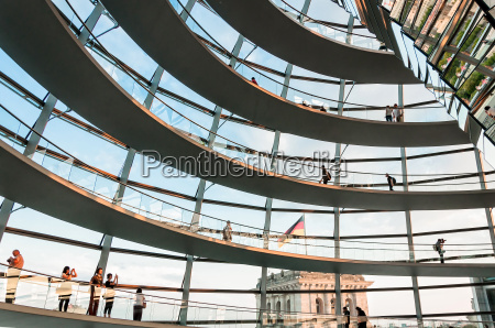 tourists visit the reichstag dome in