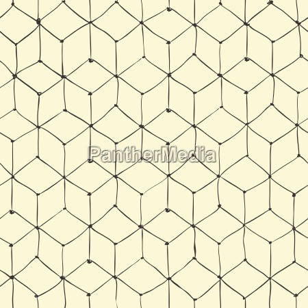 seamless repeating cubes hand drawn pattern