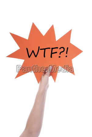 orange speech balloon with wtf