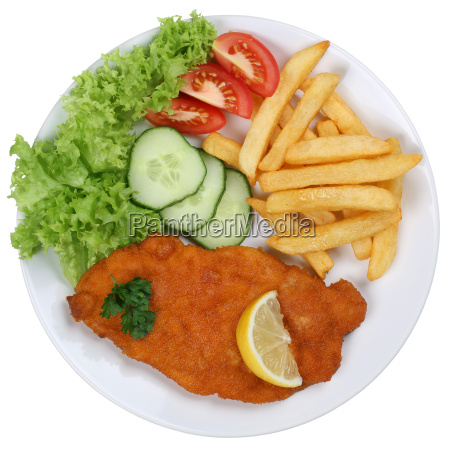 wiener schnitzel dish with fries and