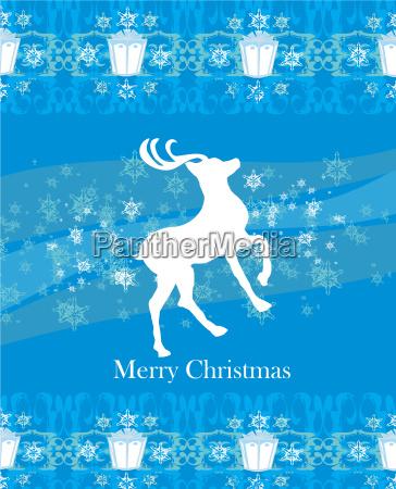 reindeer flying stars blue background