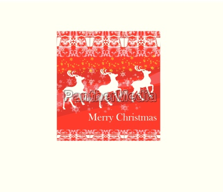 reindeers flying stars red background