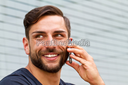 modern man with smartphone