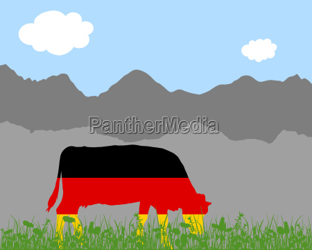 cow pasture and germany flag