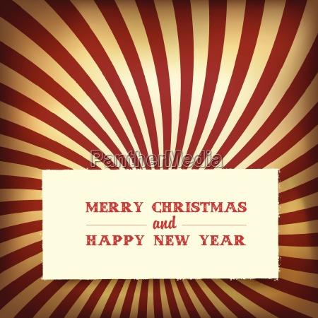 christmas greeting on retro rays background