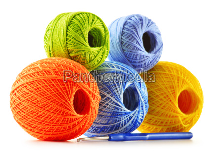 colorful yarn for crocheting and hook