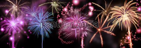 colorful fireworks display in a night