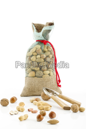 burlap sack with various nuts