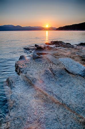 beautiful mountain lake shoreline on a