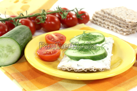 crispbread with cream cheese cucumber and