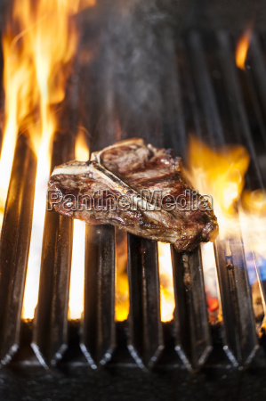 t bone steak on the barbecue