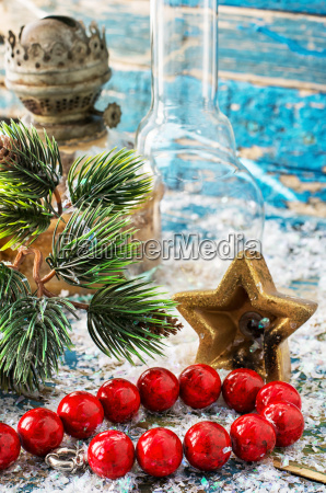 christmas decoration with coral beads on