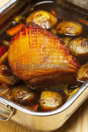 bavarian pork roast in a casserole