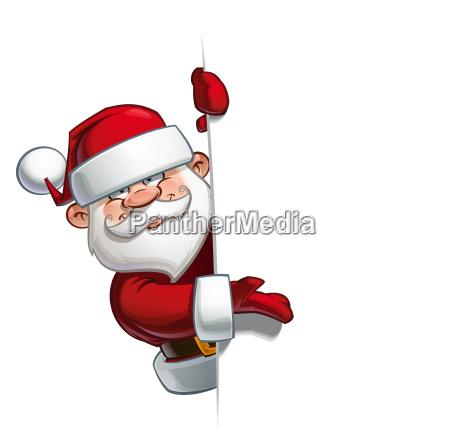 happy santa empty label presenting