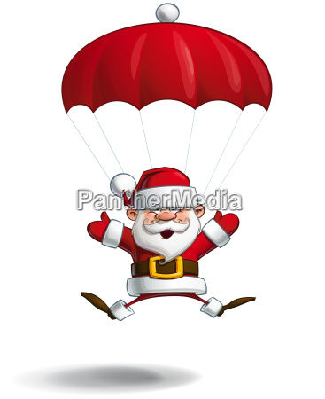 happy santa parachute open hands