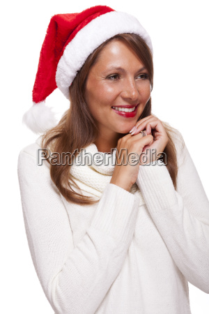 attractive woman is wearing a festive