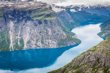 beautiful norwegian landscape with mountains on