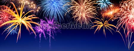 fireworks on dark blue panorama