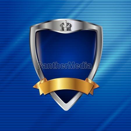 crown shield curves metallic dots heraldic