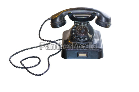 antique phone with dial disc on