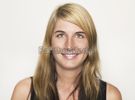 portrait laughing blond woman