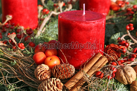 red candle on an advent wreath