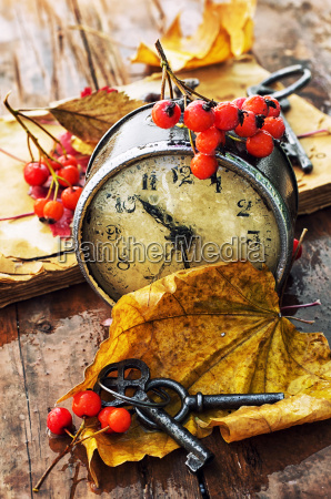 rainy autumn weather old clock fallen