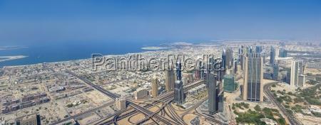 dubai panoramic aerial view