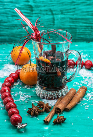 christmas composition with mulled wine and