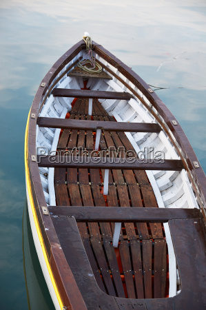 wooden boat vintage type on offshore
