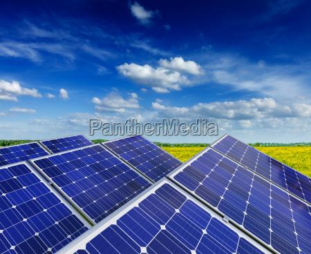 solar battery panels in summer spring