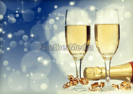 holiday card with champagne and festive
