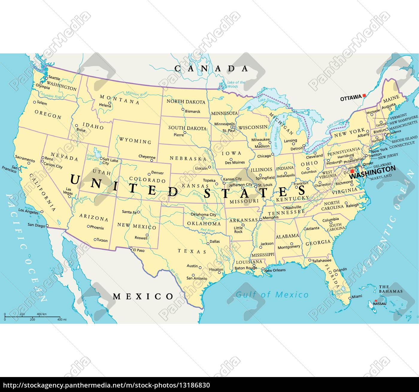 Royalty free vector 13186830 - United States of America Political Map